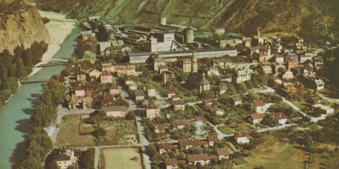 Sierre Chippis stabilimenti industriali AIAG 1950 ca, ph. Archivio LabiSAlp