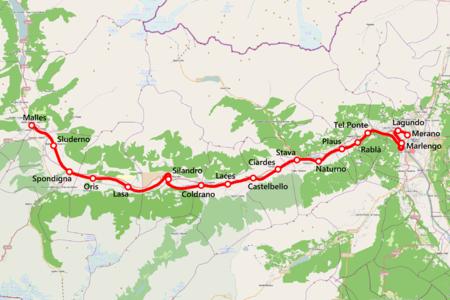Mappa della ferrovia Merano Malles