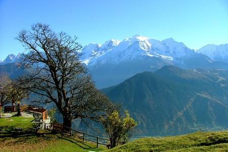 Vista del Monte Bianco dal Rifugio Varan, , sopra Passy in Alta Savoia