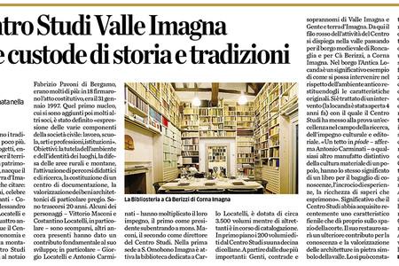 Articolo di Pino Capellini su L'Eco di Bergamo per i Vent'anni di attività del Centro