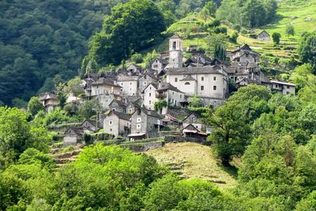 Paesaggio di Corippo, Canton Ticino, Svizzera