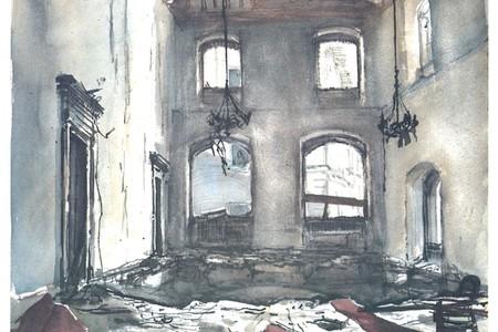 Il salone delle adunanze dopo la bomba dipinto dal Maestro Guarnieri